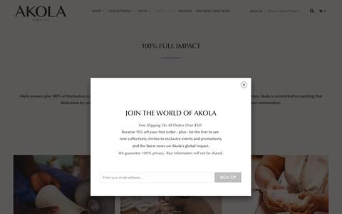 Screenshot of About Page akolaproject.org - 100% Full Impact - Akola Project - captured Oct. 23, 2018