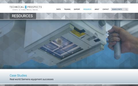 Screenshot of Case Studies Page technicalprospects.com - Case Studies | Siemens Imaging Equipment Replacement Parts - captured Oct. 20, 2018