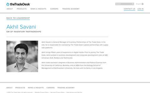 Screenshot of Team Page thetradedesk.com - Akhil Savani | The Trade Desk - captured June 22, 2018