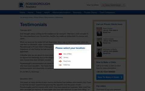 Screenshot of Testimonials Page rossborough.co.uk - Rossborough Insurance | Testimonials - captured Feb. 3, 2016