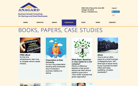 Screenshot of Case Studies Page anagard.com - RESOURCES ANAGARD, LLC Business Growth Consulting for Startups and Small Businesses - captured Feb. 4, 2016