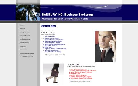 Screenshot of Services Page banburyinc.com - BANBURY INC.  Businesses for Sale in Washington and Idaho - captured Sept. 30, 2014