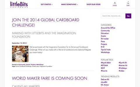 Screenshot of Blog littlebits.cc - Blog - captured Sept. 16, 2014