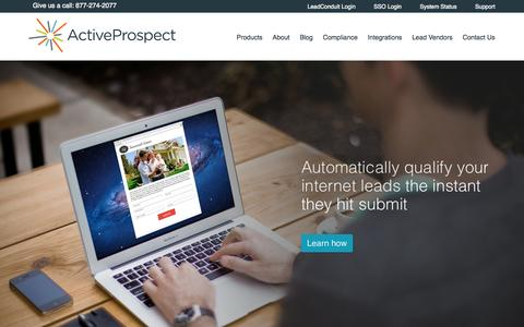 Screenshot of Home Page activeprospect.com - Marketing Automation Middleware for Online Lead Qualification | ActiveProspect - captured Sept. 19, 2014