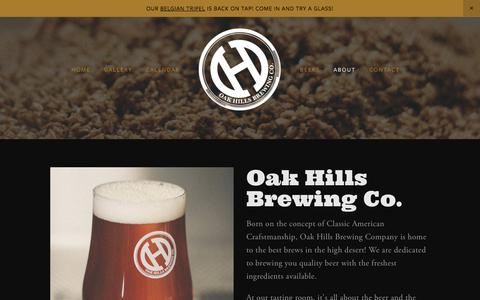 Screenshot of About Page oakhillsbrewing.com - About Oak Hills Brewing Co. — Oak Hills Brewing Co. - captured Nov. 1, 2017