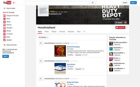 Screenshot of YouTube Page youtube.com - HeavyDutyDepot  - YouTube - captured Oct. 22, 2014
