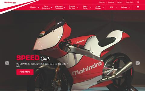 Screenshot of Home Page mahindra.com - Mahindra.com | Rise - captured Feb. 19, 2016