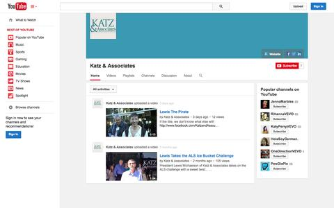 Screenshot of YouTube Page youtube.com - Katz & Associates  - YouTube - captured Nov. 3, 2014