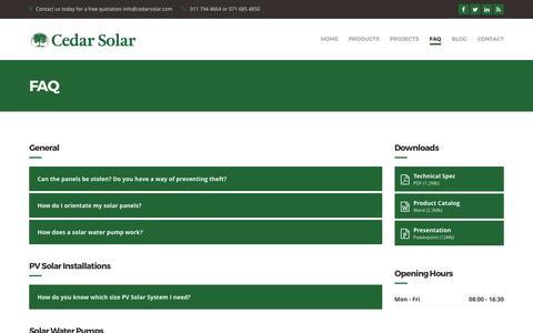 Screenshot of FAQ Page cedarsolar.com - FAQ - Cedar Solar - captured May 15, 2017