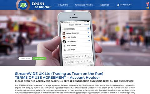 Screenshot of Terms Page teamontherun.com - Team on the Run Private Mobile Messenger | Terms Of Use - captured Oct. 9, 2014