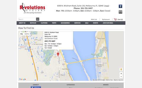 Screenshot of Contact Page Maps & Directions Page revolutionscyclery.com - Locations - Welcome to Revolutions Cyclery - www.RevolutionsCyclery.com - captured Feb. 15, 2016