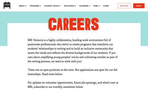Screenshot of Jobs Page 826valencia.org - Careers - 826 Valencia - captured Sept. 21, 2018