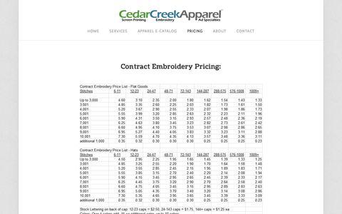 Screenshot of Pricing Page cedarcreekapparel.com - Pricing — Cedar Creek Apparel - Portland & Gresham embroidery, screen printing, ad specialties, online apparel catalog - captured July 16, 2018