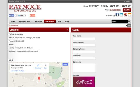 Screenshot of Hours Page raynockassociates.com - Raynock & Associates | GET INSURANCE Auto Homeowners Renters Personal Umbrella Motorcycle Landlords Macungie Coverage Policy  > Contact Us - captured Oct. 25, 2014