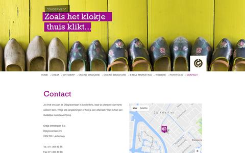 Screenshot of Contact Page creja.nl - Contact met Creja - Heeft u een vraag bel of mail met Creja, Dijkgravenlaan 75, 2352RN Leiderdorp - Leiden - Reclamebureau - Ontwerpstudio - captured Nov. 13, 2016