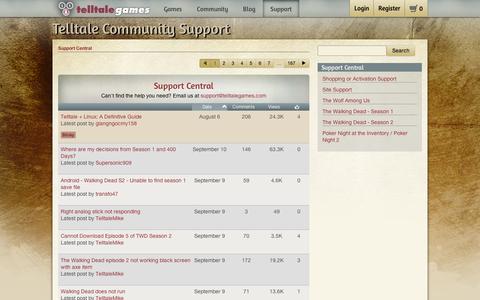 Screenshot of Support Page telltalegames.com - Support Central - Telltale Community - captured Sept. 11, 2014