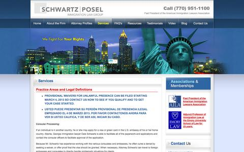 Screenshot of Services Page immlawfirm.com - Dale Schwartz: Immigration Attorney Atlanta GA, Family Based Visas, I-30 Petitions, Work Visas - captured Oct. 5, 2014