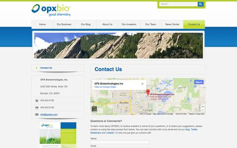 Screenshot of Contact Page opxbio.com - Contact Us - OPX Biotechnologies - captured Sept. 13, 2014