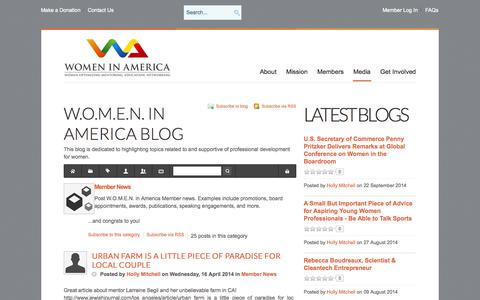 Screenshot of Press Page womeninamerica.net - Member News - W.O.M.E.N. in America Blog - captured Oct. 27, 2014