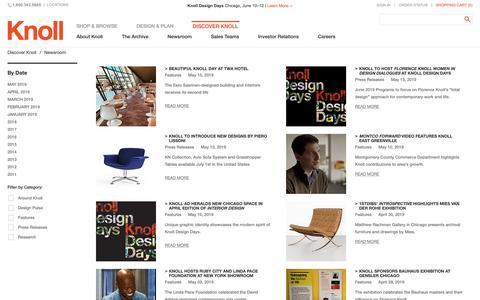 Screenshot of Press Page knoll.com - News, Press and Top Stories | Knoll - captured May 18, 2019