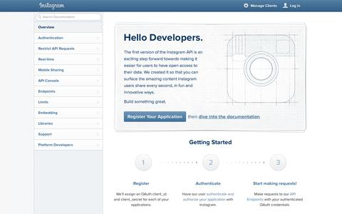 Screenshot of Developers Page instagram.com - Instagram Developer Documentation - captured Oct. 10, 2014