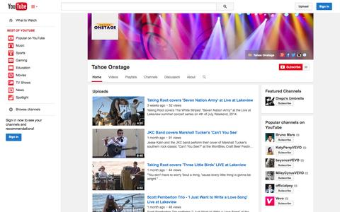Screenshot of YouTube Page youtube.com - Tahoe Onstage  - YouTube - captured Oct. 26, 2014