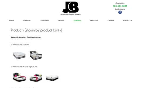 Screenshot of Products Page restonicjc.com - Products (shown by product family) - captured Nov. 27, 2016
