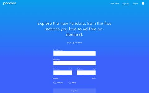 Screenshot of Signup Page pandora.com - Music and Podcasts, Free and On-Demand | Pandora - captured May 9, 2019