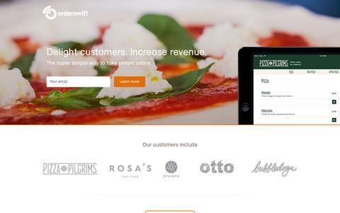 Screenshot of Home Page delishery.com - orderswift - captured Sept. 15, 2014