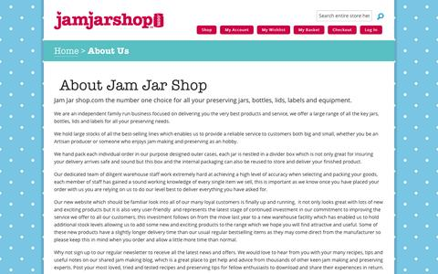 Screenshot of About Page jamjarshop.com - About Us | Jam Jar Shop - captured Feb. 21, 2016