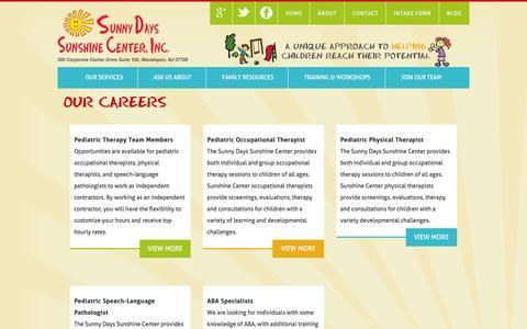 Screenshot of Jobs Page sunshinecenternj.com - Employment Opportunities| Early Intervention Jobs  | Sunshine Center, Inc. - captured Jan. 23, 2016