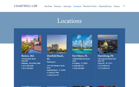 Screenshot of Contact Page Locations Page chartwelllaw.com - Locations | Chartwell Law - captured Dec. 21, 2018