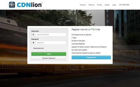 Screenshot of Login Page cdnlion.com - Login to CDNlion™ | Content Delivery Network (CDN) - captured July 3, 2015