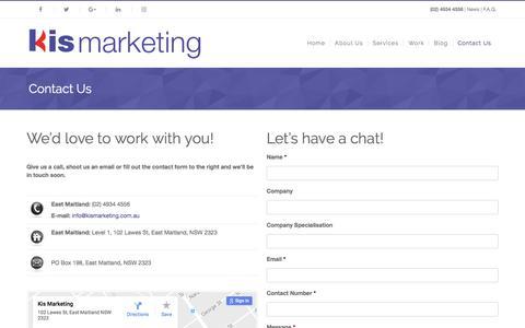 Screenshot of Contact Page kismarketing.com.au - Contact Us | Kis Marketing would love to work with you! - captured Nov. 27, 2016