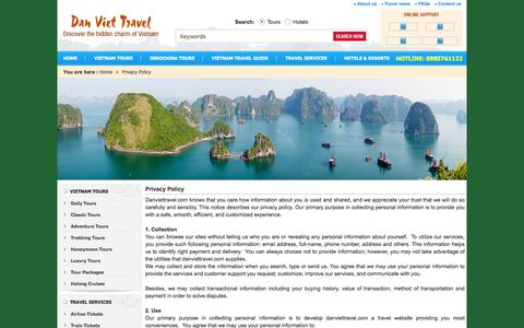 Screenshot of Privacy Page danviettravel.com - Privacy Policy - captured June 3, 2017