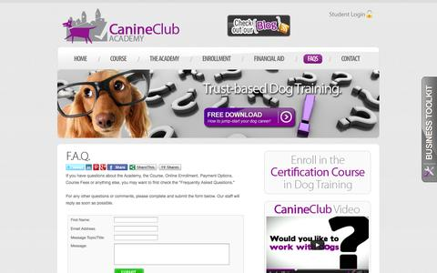 Screenshot of FAQ Page canineclubacademy.com - Canine Club Academy - Become a Certified Dog Trainer and Start an Exciting New Career! - captured Sept. 27, 2014