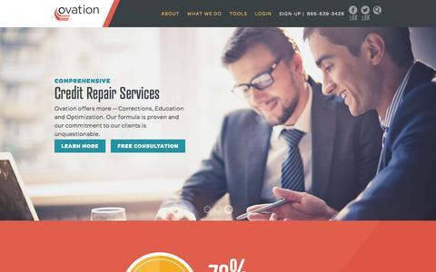 Screenshot of Home Page ovationcredit.com - Ovation Credit   Credit Repair Experts - captured Feb. 15, 2016