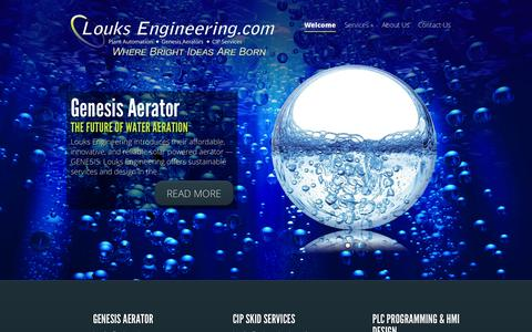 Screenshot of Home Page louksengineering.com - Louks Engineering - Plant Automation, Electrical Contracting And Alternative Energy Solutions - captured Jan. 21, 2015