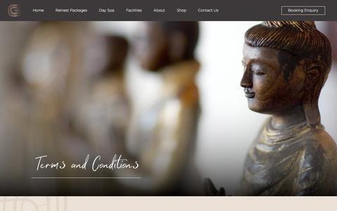 Screenshot of Terms Page gaiaretreat.com.au - Day Spa and Retreat Terms & Conditions | Gaia Retreat & Spa - captured Aug. 7, 2019