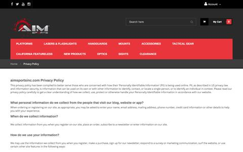 Screenshot of Privacy Page aimsportsinc.com - Privacy Policy - captured May 28, 2017