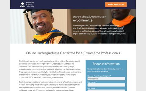 Screenshot of Landing Page apuseducation.com - Online Undergraduate Certificate in E-Commerce | American Military University - captured July 9, 2016