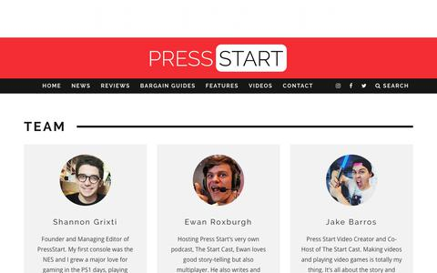 Screenshot of Team Page press-start.com.au - Team | Press Start Australia - captured Aug. 25, 2017