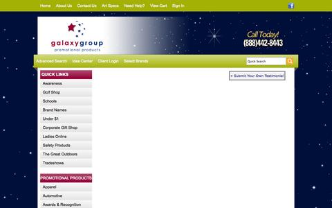 Screenshot of Testimonials Page galaxygrouppromo.com - Galaxy Promotional Products | Promotional Products and Apparel | Walnut Creek, CA - Testimonials - captured Oct. 1, 2014