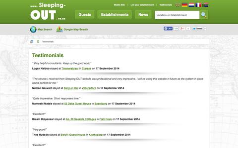 Screenshot of Testimonials Page sleeping-out.co.za - What our Customers think of Sleeping-OUT.co.za - captured Sept. 18, 2014