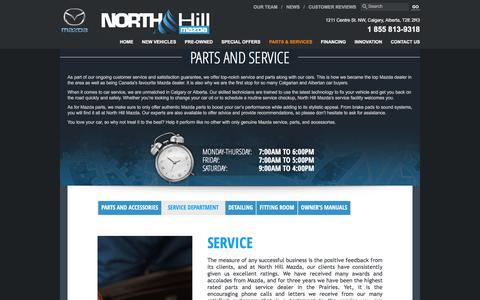 Screenshot of Services Page northhillmazda.com - Mazda service in Calgary | Maintenance and repairs | North Hill Mazda - captured Dec. 3, 2016