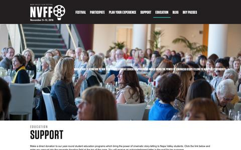 Screenshot of Support Page napavalleyfilmfest.org - Support | Education | Napa Valley Film Festival - captured Feb. 13, 2016
