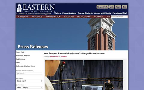 Screenshot of Press Page easternct.edu - Press Releases   Eastern Connecticut State University - captured May 29, 2018