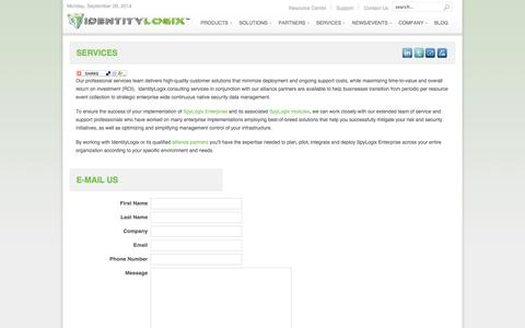 Screenshot of Services Page identitylogix.com - IdentityLogix - Services - captured Sept. 30, 2014