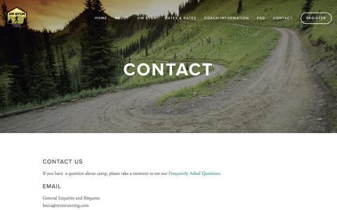 Screenshot of Contact Page ryunrunning.com - Contact — The Jim Ryun Running Camp - captured June 13, 2016
