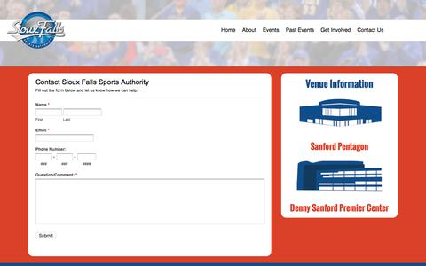 Screenshot of Contact Page sfsportsauthority.org - Sioux Falls Sports Authority | Contact Us - captured Nov. 30, 2016